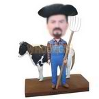 custom farmer bobblehead with cow bobblehead