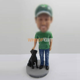 custom man with dog bobbleheads