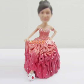 custom pink dress bobbleheads