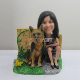 custom girl with dog bobbleheads