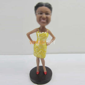 custom yellow dress bobbleheads