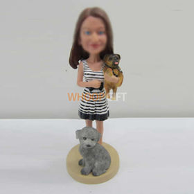 custom girl with pets bobbleheads