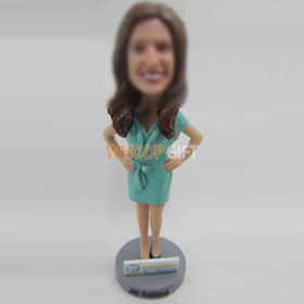 custom green dress bobbleheads