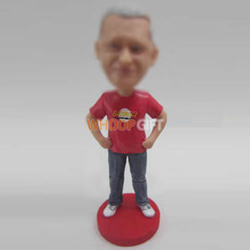 custom red shirt bobble heads