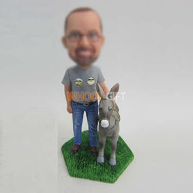 custom man and Donkey bobbleheads