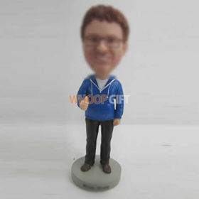 custom blue coat man bobbleheads