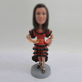 custom red dress bobble heads