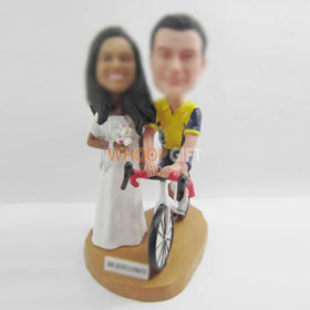 custom bike wedding cake bobble heads