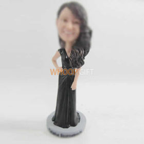custom black dress bobble head
