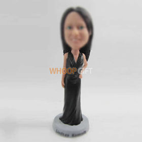 custom beautiful black dress bobbleheads
