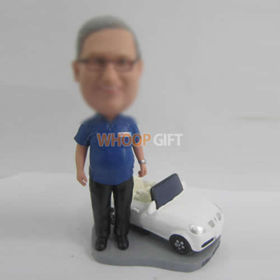 custom man with white car bobbleheads