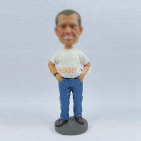 custom white Tshirt bobble heads