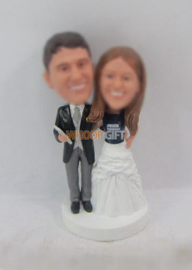 custom happiness wedding cake bobblehead dolls