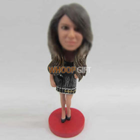 custom beautiful black dress bobble heads