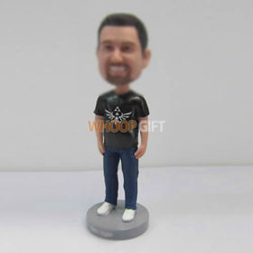 custom black Tshirt bobbleheads