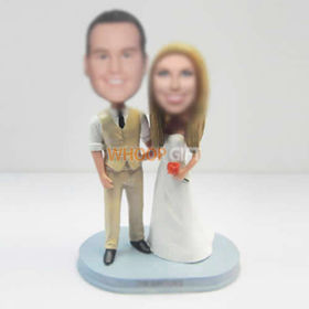 customized happiness wedding cake bobblehead
