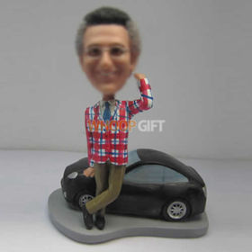 custom male with black car bobbleheads