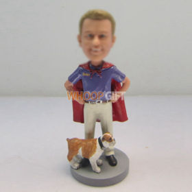 custom superman with dog bobbleheads