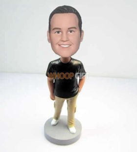 custom black T-shirt bobbleheads