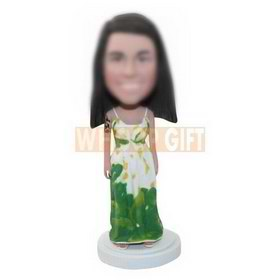 custom summer long skirt beauty with long hair bobbleheads