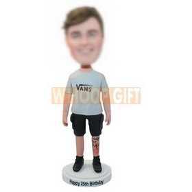 custom birthday gift boy bobbleheads in vans t-shirt with tattoo