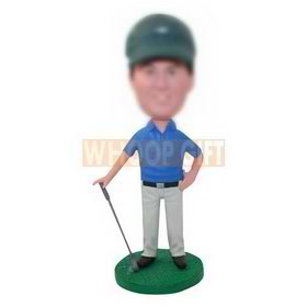 custom golf bobblehead with hat and polo shirt