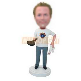 customs-built table tennis player bobblehead in t-shirt and jeans