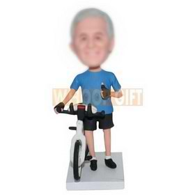 personalized custom biker with bike bobbleheads