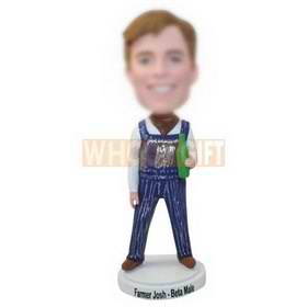 custom farmer wear suspender with a bottle of beer in hand bobblehead