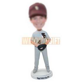 personalized custom baseball player wearing hat bobbleheads