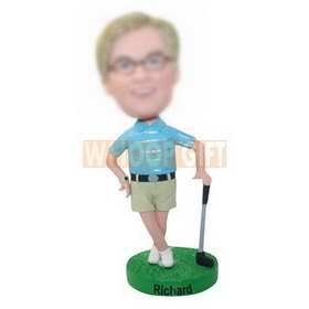 personalized golf man in shorts and polo shirt bobbleheads