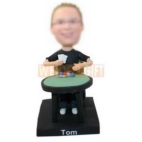 custom gambler at gambling table bobbleheads