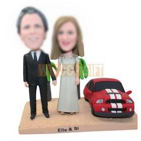 custom couple with sports car and trees