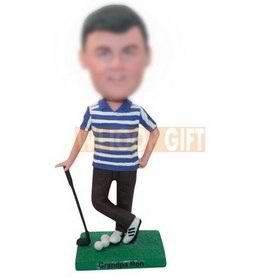 custom golf player in a white and blue polo shirt bobbleheads