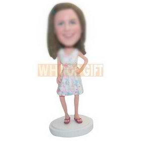 custom woman in summer style dress bobbleheads