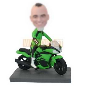 custom motorcyclist on a cool motorcycle bobbleheads