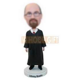 personalized custom male judge in a long robe bobbleheads