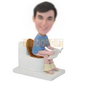 personalized custom man sits on a toilet bobbleheads