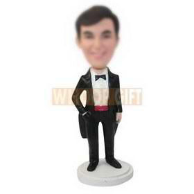 personalized custom man in a tuxedo bobbleheads