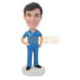 personalized custom male doctor with a stethoscope bobbleheads