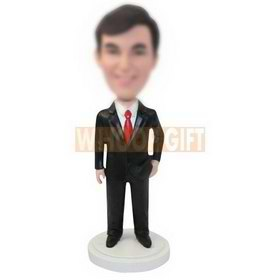 personalized custom man in a black suit bobbleheads