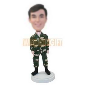 personalized cutom soldier in battle fatigues bobbleheads
