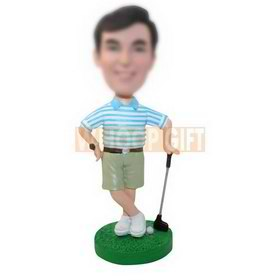 personalized custom golfer in leisure clothes bobbleheads