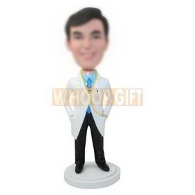personalized custom doctor in a white coat bobbleheads