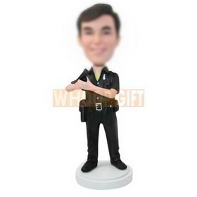 personalized custom policeman in a black uniform bobbleheads