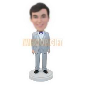 personalized custom man in a silvery suit bobbleheads