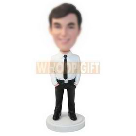 personalized custom man in a shirt and tie bobbleheads