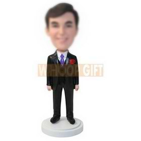 personalized custom man in a black suit and purple tie bobbleheads