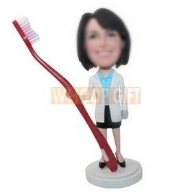 personalized custom women with a big toothbrush