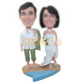 personalized custom wedding on the beach bobbleheads